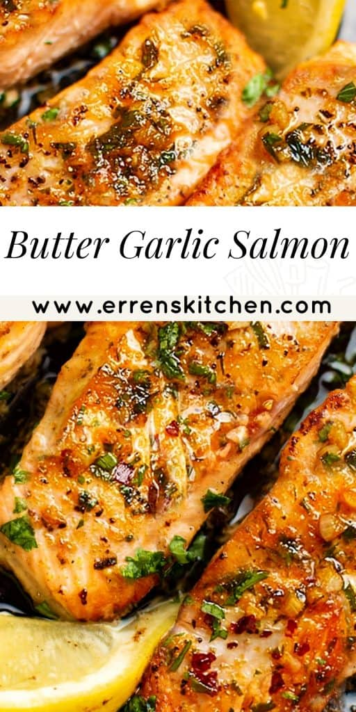 overhead shot of salmon with a butter and garlic sauce