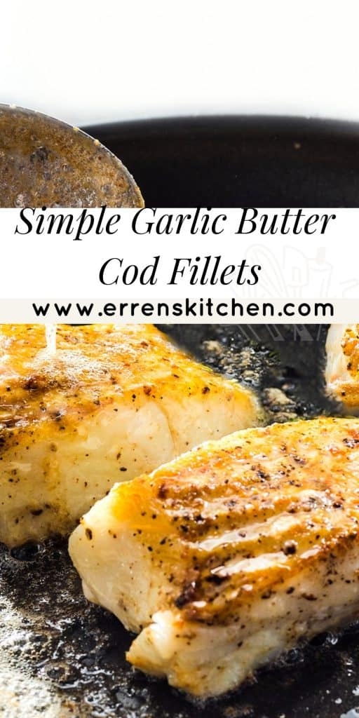 garlic butter being basted over cod fillets