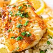 cod in butter and garlic with parsley