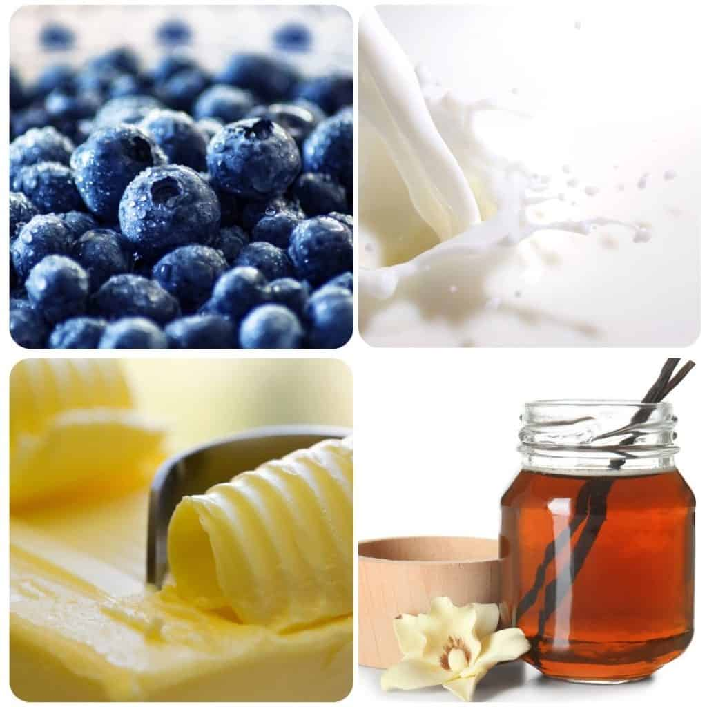 four pictures of ingredients, blueberries, buttermilk, butter and vanilla extract
