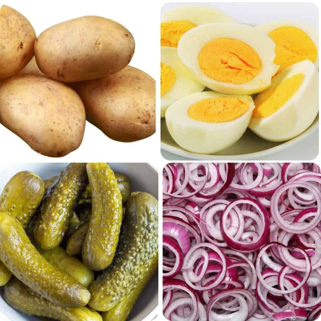 potatoes, hard boiled eggs, pickles, and onions