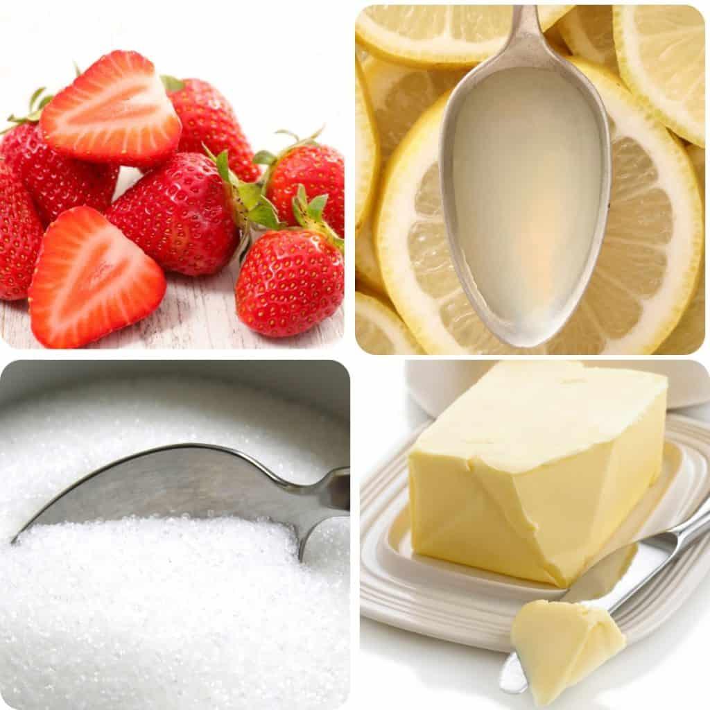 strawberries, butter sugar and lemon juice