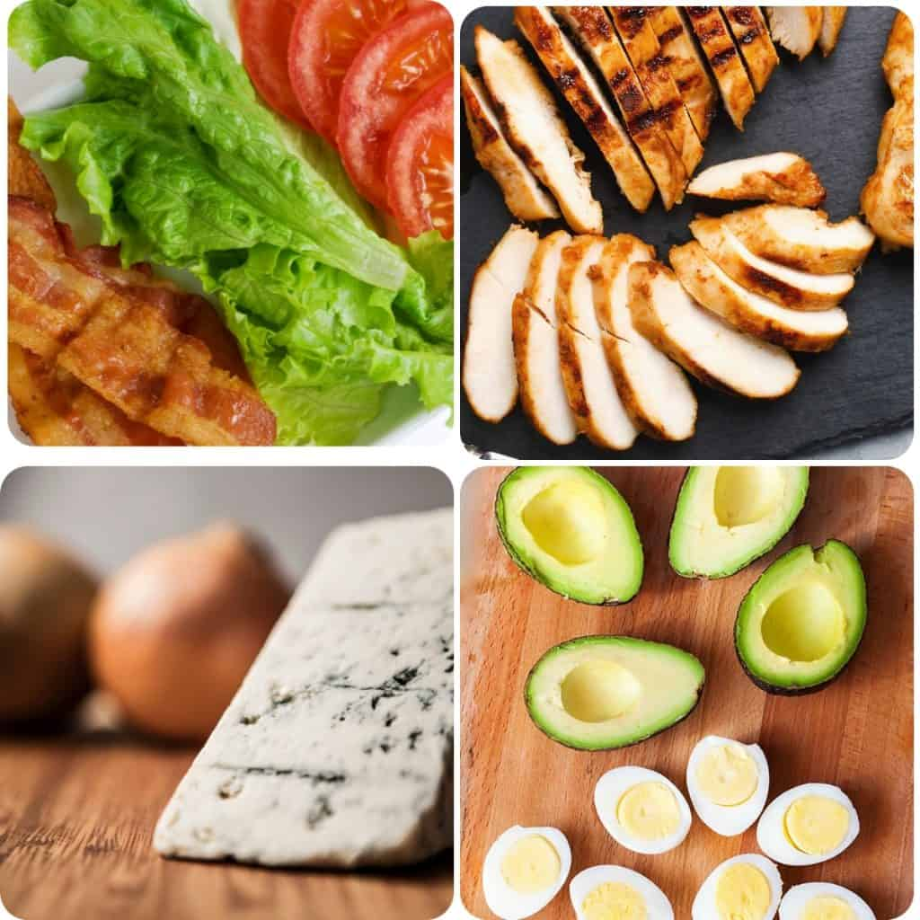 a selection of photos with avacado, eggs, blue cheese, chicken, bacon, lettuce and tomatoes
