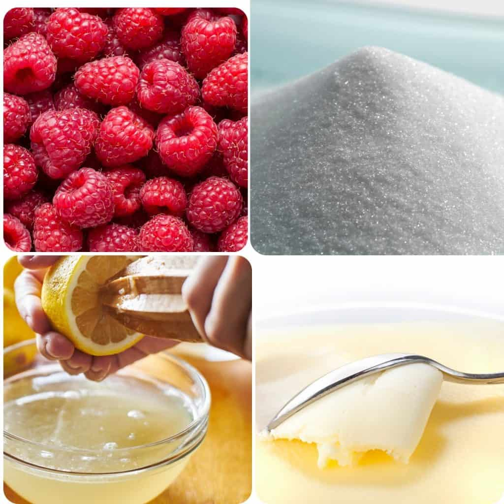 raspberries, sugar, lemon juice and butter