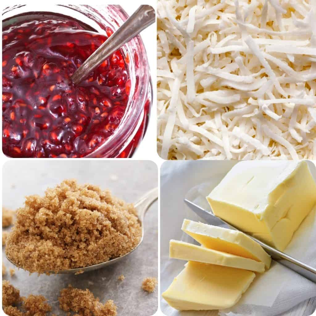 raspberry jam, shredded coconut, brown sugar, and butter