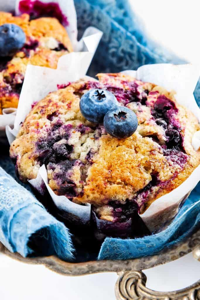 A close up of blueberry muffins with fresh blueberries on top