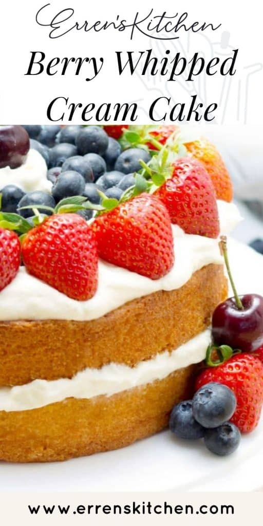 sponge cake with whipped cream and berries