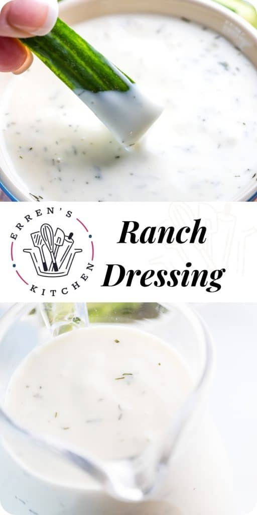 cucumber being dipped into ranch dressing