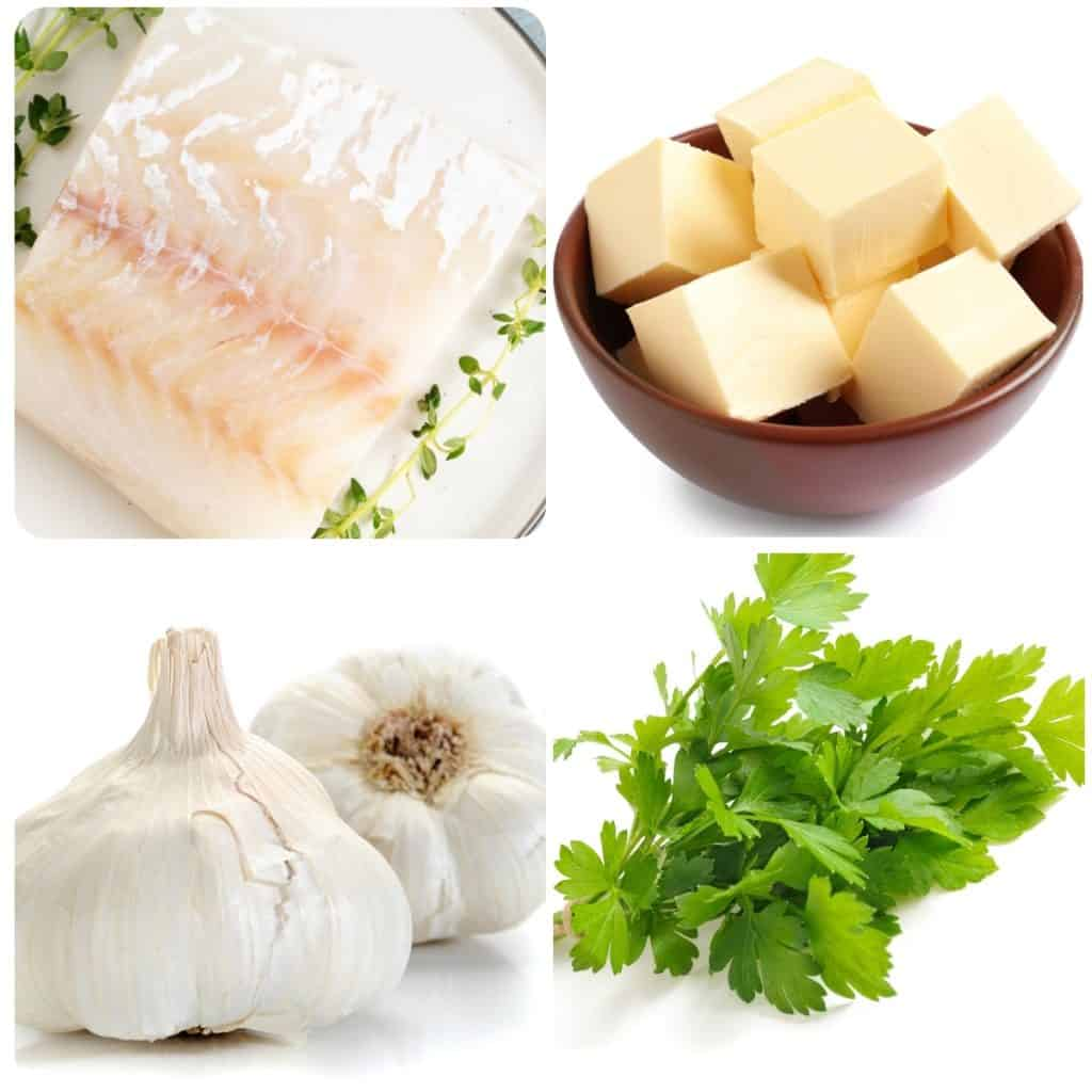 ingredients for garlic butter cod fillets, cod, butter, garlic and parsley