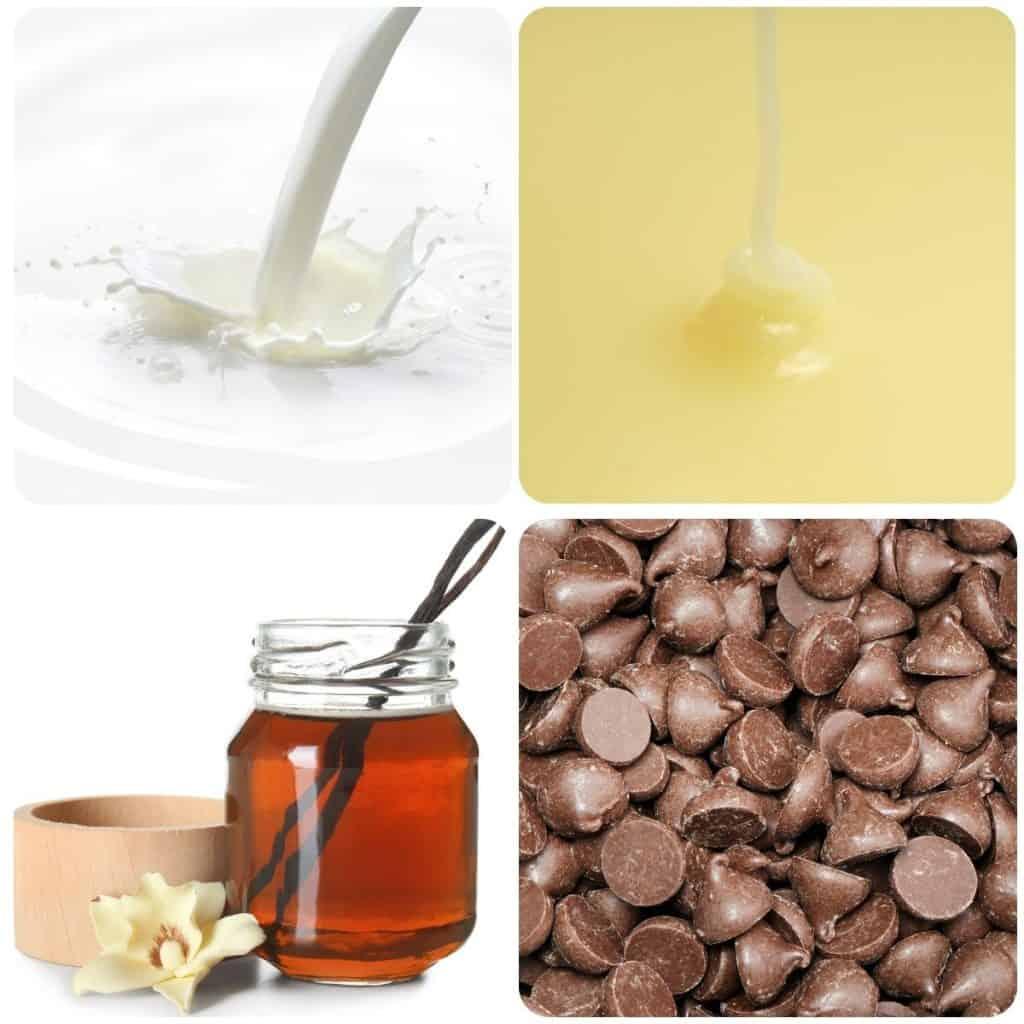 cream, condensed milk, vanilla and chocolate chips