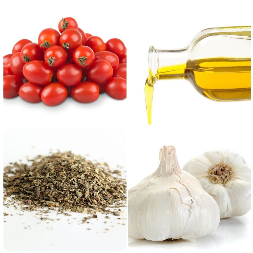 ingredients; tomatoes, oil, herbs and garlic