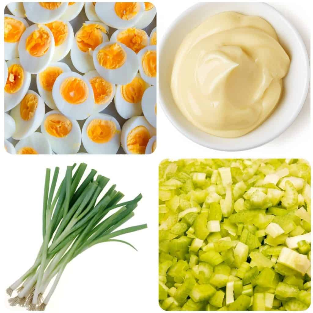 egg salad ingredients; eggs, mayonnaise, green onions and chopped celery