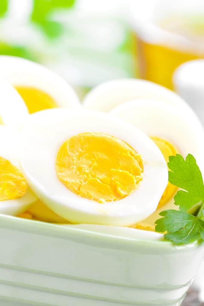 hard boiled eggs in a ceramic bowl