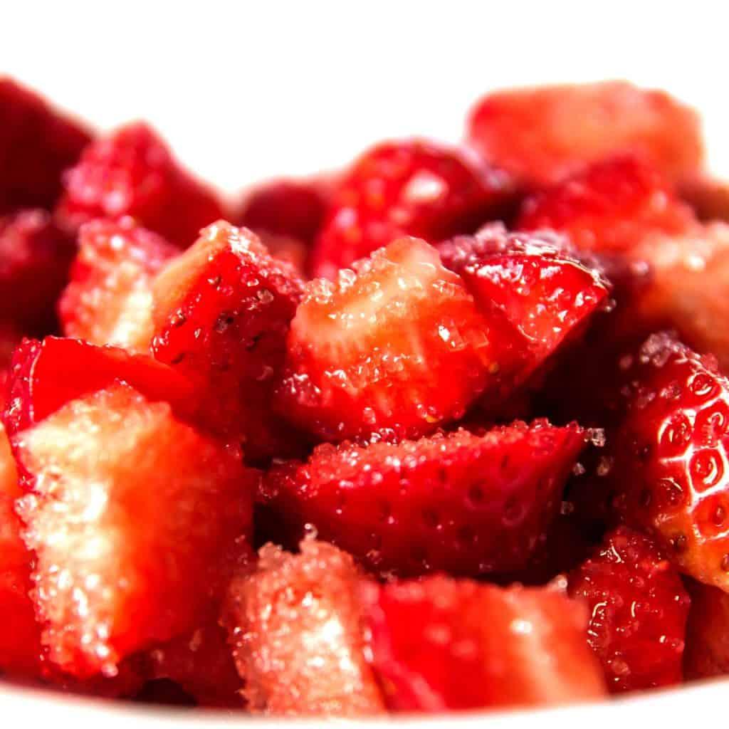 strawberries coated in sugar