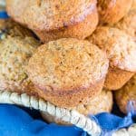 a basket of banana bread muffins