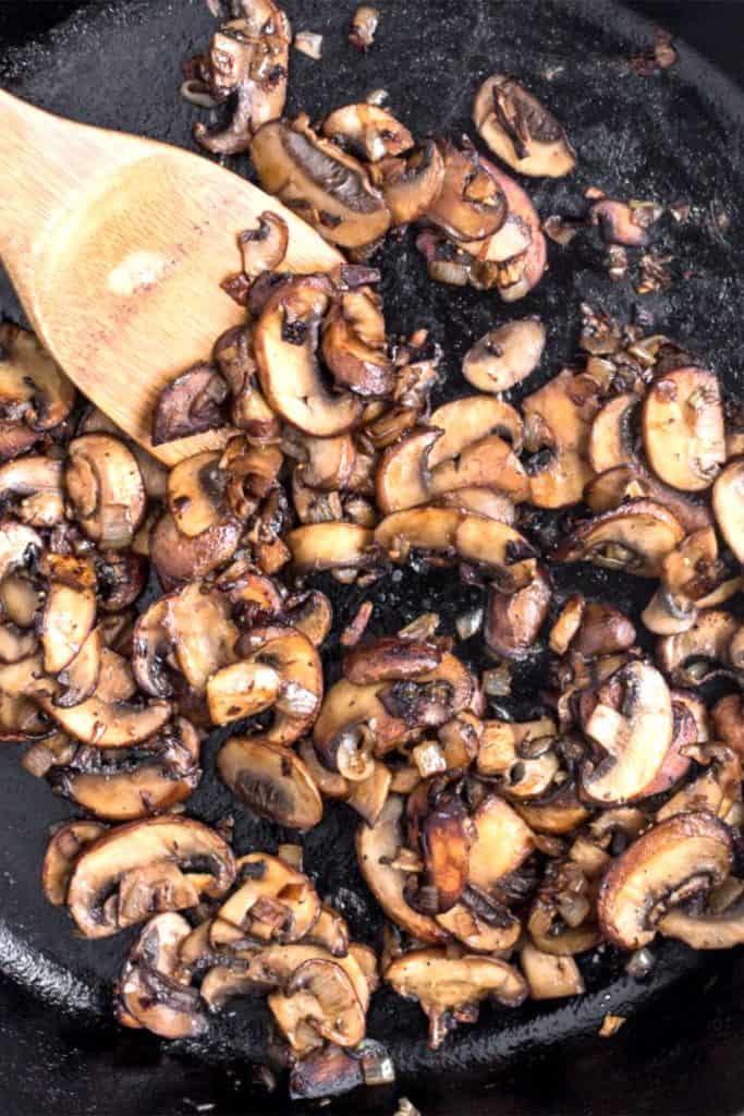 cooked mushrooms un a pan