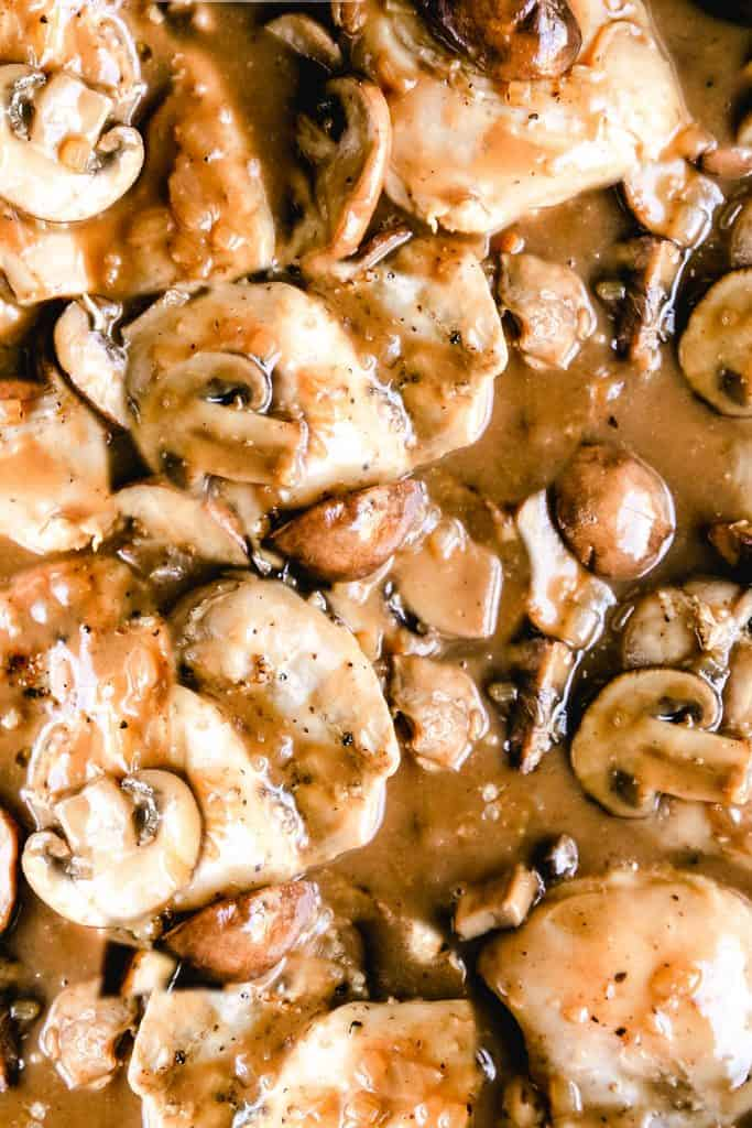 Chicken thighs and mushrooms in a brown sauce