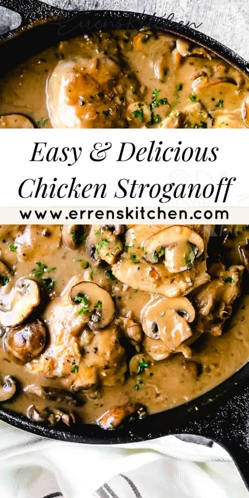 A pan of Chicken thighs an mushrooms in a brown sauce