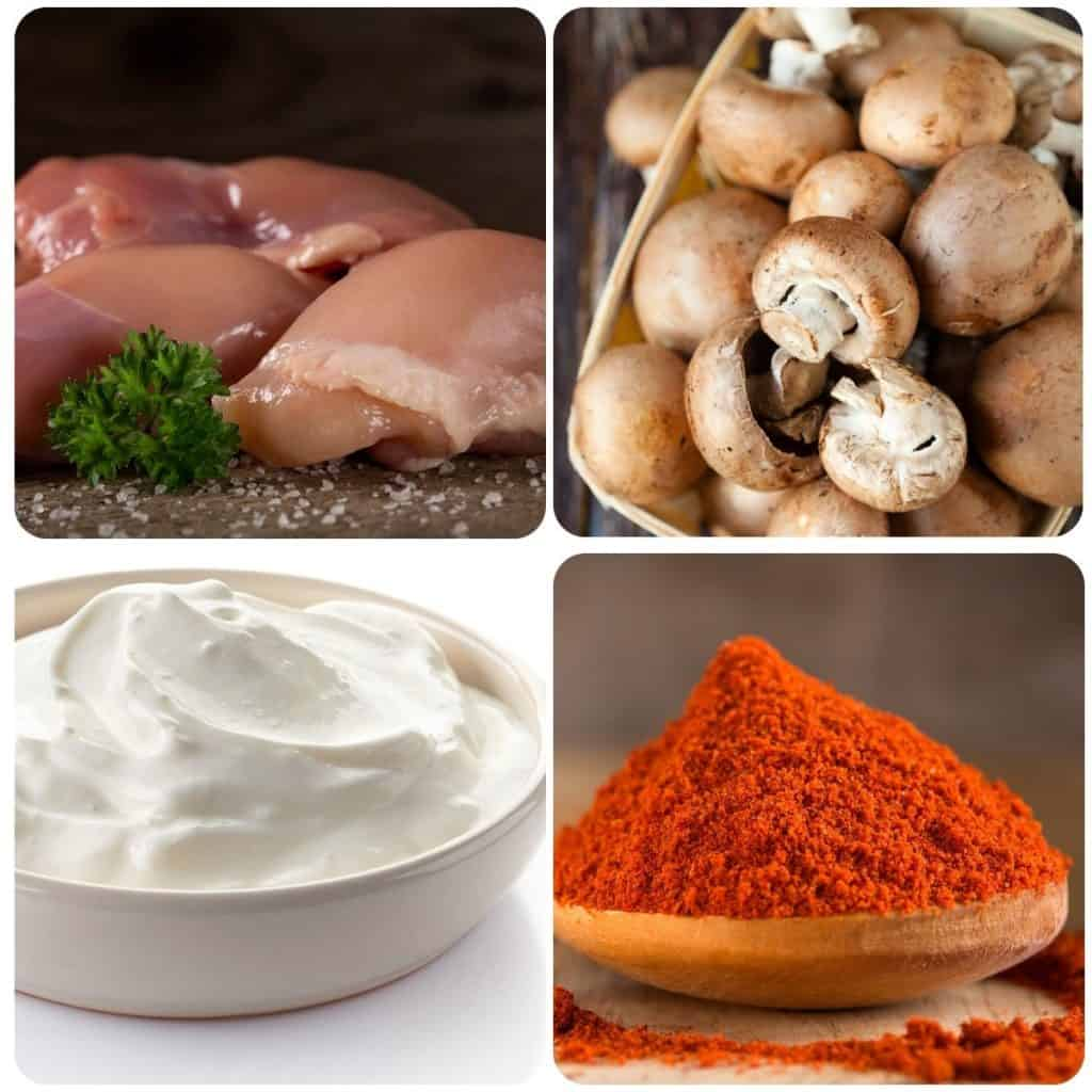 chicken, mushrooms, sour cream and paprika
