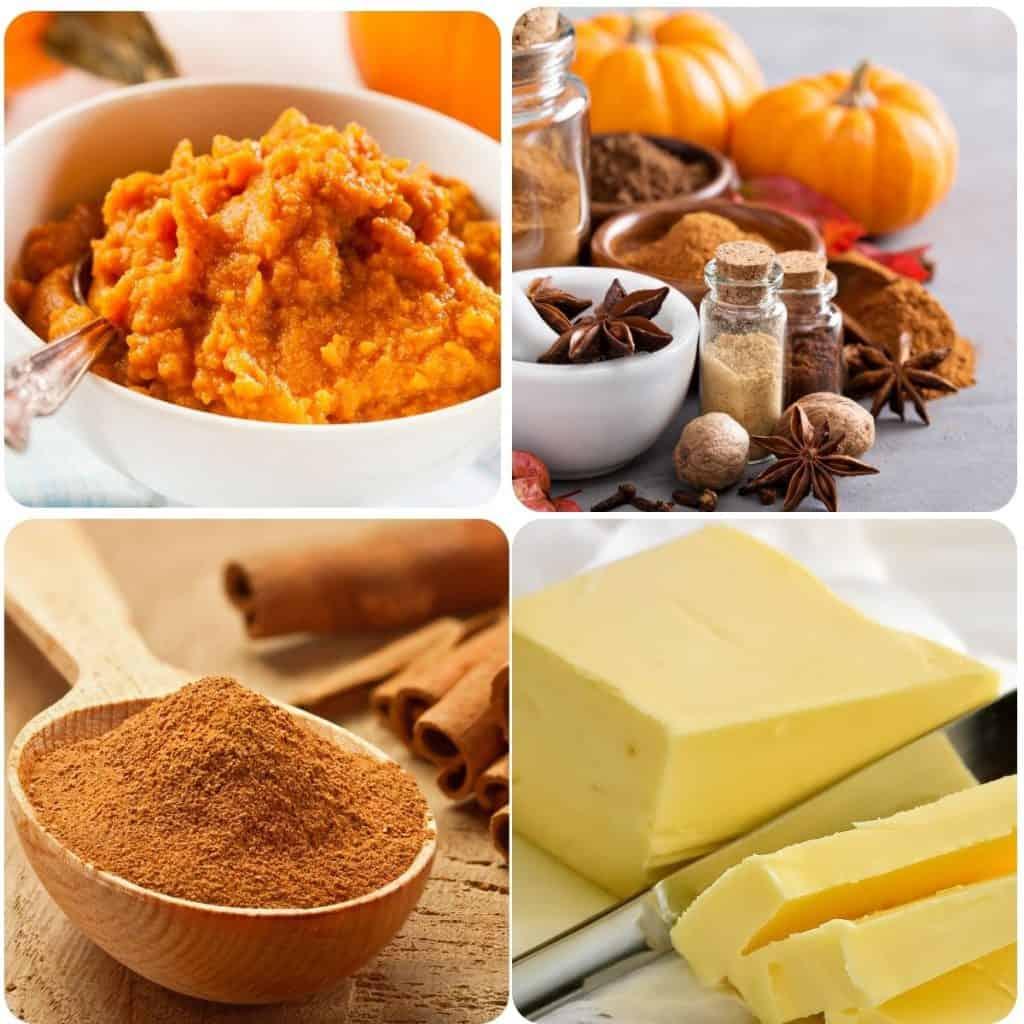 pumpkin puree, pumpkin spices, cinnamon, and butter