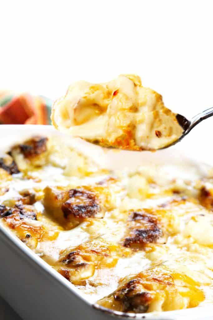 a spoonful of cauliflower with cheese sauce over a dish of Cheesy Cauliflower Bake